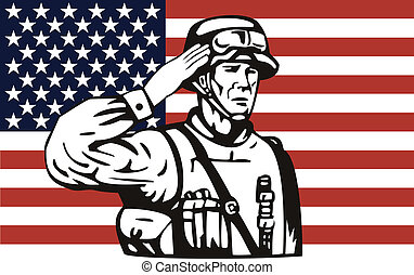 americano, soldado, saudando, bandeira americana