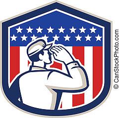 americano, soldado, saudando, bandeira, escudo