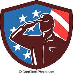 americano, soldado, saudando, bandeira eua, crista, retro