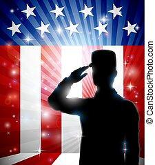 americano, soldado, saudando, bandeira, patriótico, desenho