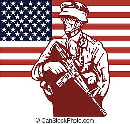 americano, soldado, segurando, m16, bandeira