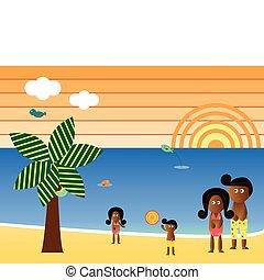 americano, spiaggia, retro, famiglia, africano