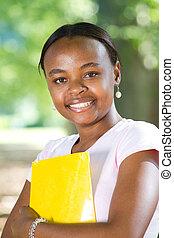 americano, studente femmina, africano