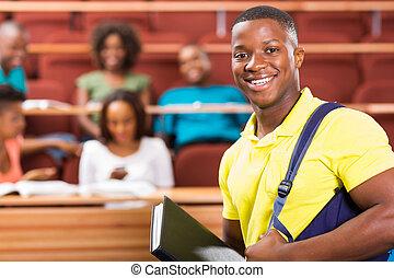 americano, studente università, africano