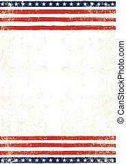 americano, sujo, bandeira, cartaz