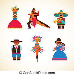 americano sul, pessoas, -, conceito, ilustração