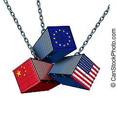 americano, tariffa, guerra, cinese, europeo