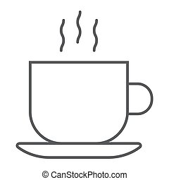 Americano thin line icon, coffee and cafe, hot coffee sign vector graphics, a linear pattern on a white background, eps 10.