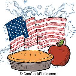 americano, torta, esboço, maçã