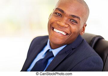 americano, trabalhador, escritório, africano