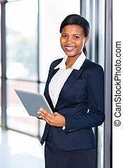 americano, trabalhador, jovem, escritório, africano