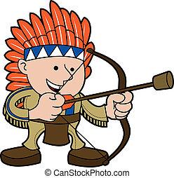 americano, traje nativo, ilustração, homem