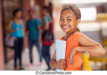 americano, università, studente femmina, africano
