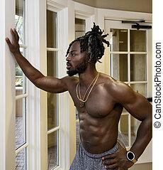 americano, uomo, proposta, bello, africano