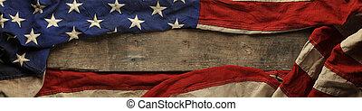 americano, vecchio, bandiera, fondo