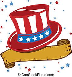 americano, vermelho branco azul, patriota, chapéu, vetorial,...