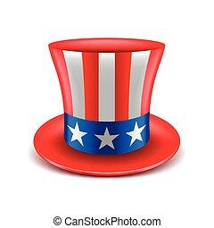 americano, vetorial, chapéu, isolado, branca