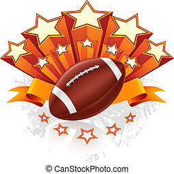 americano, vettore, emblema, football