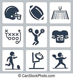 americano, vettore, set, football, icone