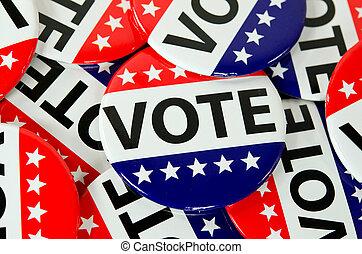 americano, votando, botões