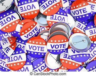americano, voto, botões, ilustração