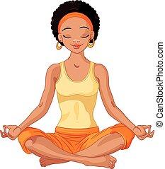 americano, yogi, ragazza, africano