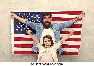 americanos, familia , independencia, miembros, patriótico, ...