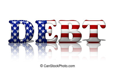 Americans in Debt - The word debt in the American flag...