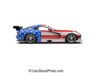 Americarn supercar with flag paint job