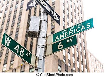 Americas Avenue signs & W 48 st New York Manhattan US