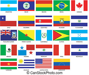 24 of Americas Flags. Vector Illustration of the Flags of different countries of the world. They are organized by location then in alphabetical in order. Dozens of flags in each file and hundreds all together.
