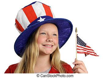 Americas Future - A pretty little girl in a patriotic...