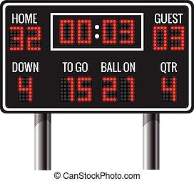 americký, vektor, scoreboard, kopaná