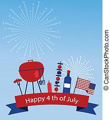 amerika, dag, onafhankelijkheid, vrolijke