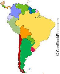 amerika, editable, syd, länder