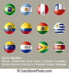 amerika, flaggan, runda, syd