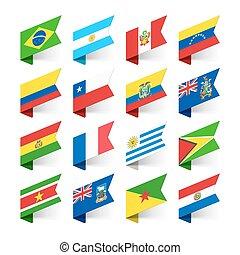 amerika, flaggan, syd, värld