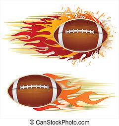 amerika, fotboll, med, flammor