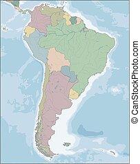 amerika, karta, kontinent, land, syd
