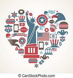 amerika, liebe, -, herz- form, mit, viele, vektor, heiligenbilder