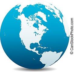 amerika, noorden, globaal, zuiden, wereld