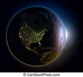amerika, noorden, zonopkomst, boven, ruimte