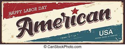 amerika, retro, banieren, ouderwetse , vector, arbeid, etiket, grunge, vrolijke , dag