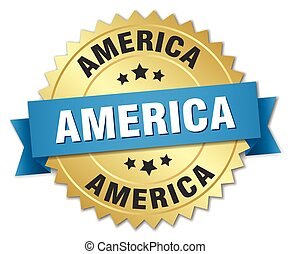 amerika, ronde, gouden, badge, met, blauw lint