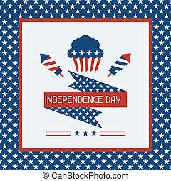 amerika, självständighetsdagen, hälsning, card.