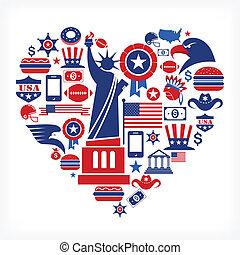 amerika, szeret, -, szív alakzat, noha, sok, vektor, ikonok