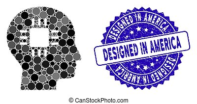 amerika, trångmål, ikon, hjärna, planlagt, processor, mosaik...