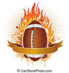 amerika, voetbal, met, vlammen