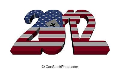 amerikaan, 2012, verkiezing, illustratie