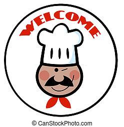 amerikaan, afrikaan, kok, welkom